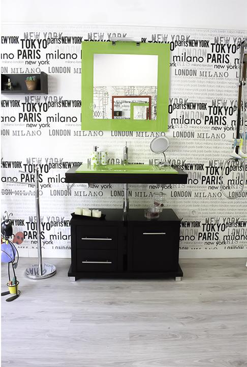 Mueble de baño verde y negro Cadisty